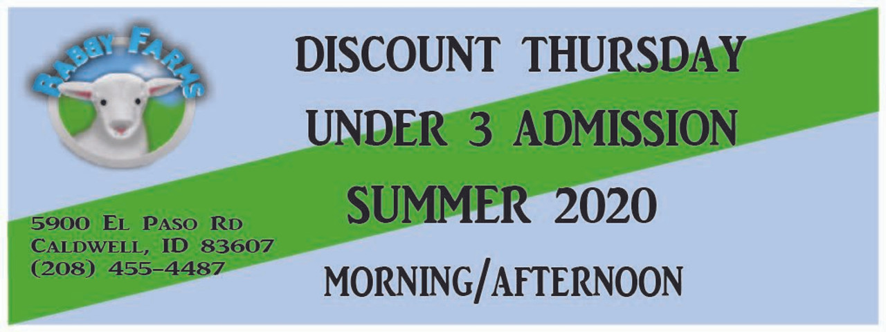 Discount Thursday Under 3 Admission