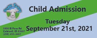 Babby Farms regular child admission 9/21/2021
