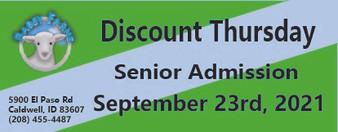 Babby Farms Discount Thursday senior admission 9/23/2021