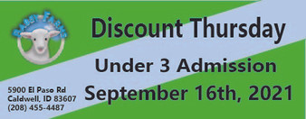 Babby Farms Discount Thursday under 3 admission 9/16/2021