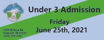 Babby Farms regular under 3 admission 6/25/2021