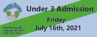 Babby Farms regular under 3 admission 7/16/2021