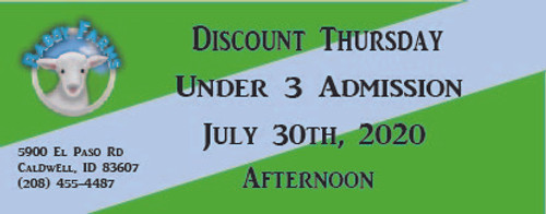 Babby Farms Discount Thursday under 3 admission 7/30/2020 afternoon