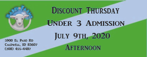 Babby Farms Discount Thursday under 3 admission 7/9/2020 afternoon