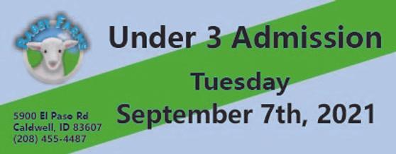 Babby Farms regular under 3 admission 9/7/2021