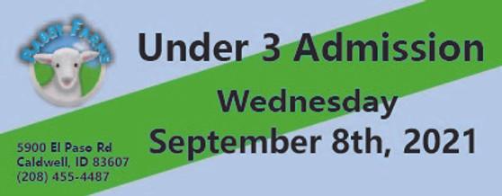 Babby Farms regular under 3 admission 9/8/2021