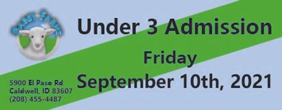 Babby Farms regular under 3 admission 9/10/2021