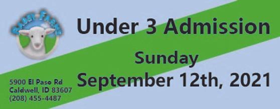 Babby Farms regular under 3 admission 9/12/2021