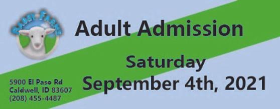 Babby Farms regular adult admission 9/4/2021
