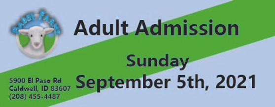 Babby Farms regular adult admission 9/5/2021