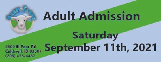 Babby Farms regular adult admission 9/11/2021