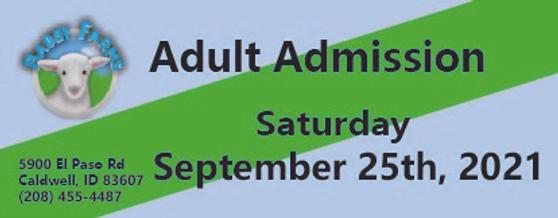 Babby Farms regular adult admission 9/25/2021