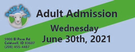 Babby Farms regular adult admission 6/30/2021