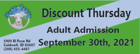 Babby Farms Discount Thursday adult admission 9/30/2021