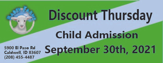 Babby Farms Discount Thursday child admission 9/30/2021