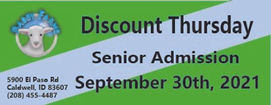 Babby Farms Discount Thursday senior admission 9/30/2021
