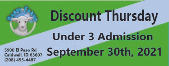 Babby Farms Discount Thursday under 3 admission 9/30/2021
