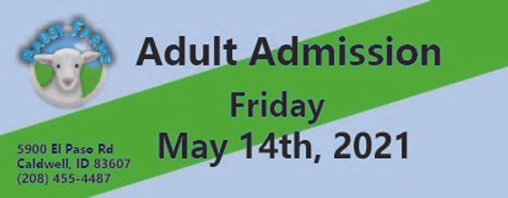 Babby Farms regular adult admission 5/14/2021