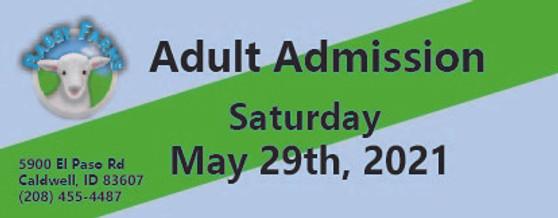 Babby Farms regular adult admission 5/29/2021