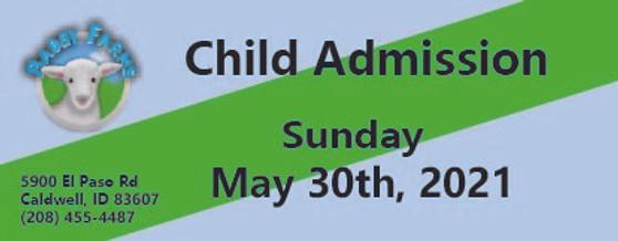 Babby Farms regular child admission 5/30/2021