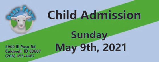 Babby Farms regular child admission 5/9/2021