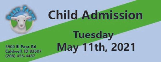 Babby Farms regular child admission 5/11/2021