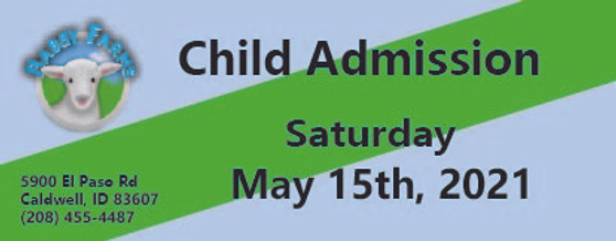 Babby Farms regular child admission 5/15/2021