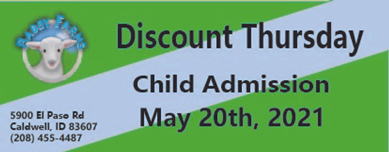 Babby Farms Discount Thursday child admission 5/20/2021