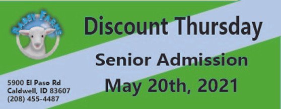 Babby Farms Discount Thursday senior admission 5/20/2021