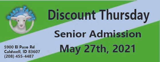 Babby Farms Discount Thursday senior admission 5/13/2021