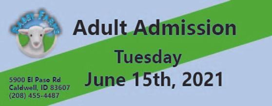 Babby Farms regular adult admission 6/15/2021