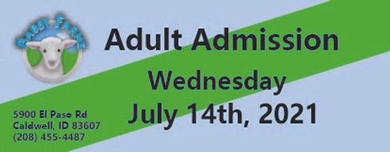 Babby Farms regular adult admission 7/14/2021