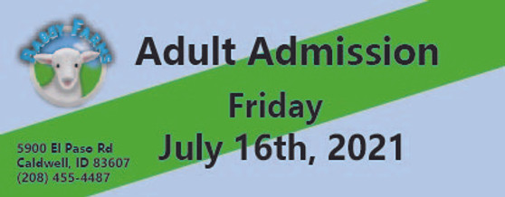 Babby Farms regular adult admission 7/16/2021