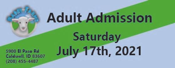 Babby Farms regular adult admission 7/17/2021