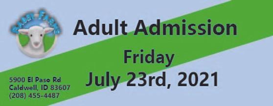Babby Farms regular adult admission 7/23/2021