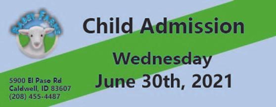 Babby Farms regular child admission 6/30/2021