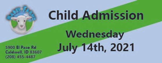 Babby Farms regular child admission 7/14/2021