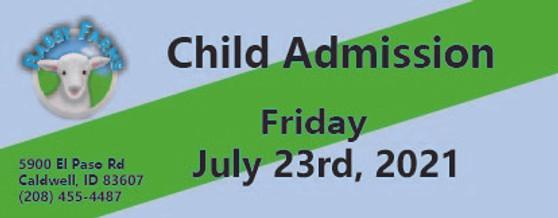 Babby Farms regular child admission 7/23/2021
