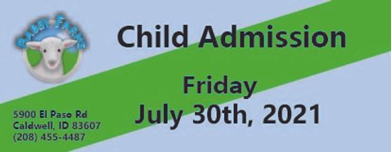Babby Farms regular child admission 7/30/2021