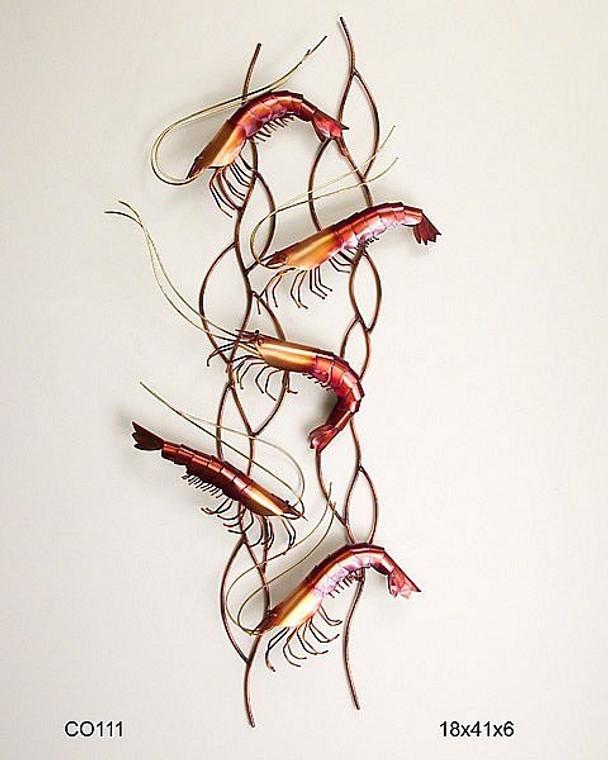 Dancing Shrimp Vertical Wall Sculpture