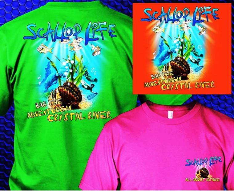 """Crystal River """"Scallop Life"""" Shirts"""