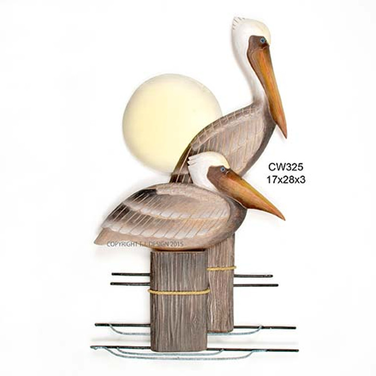 Wooden Pelicans on Dock Wall Art