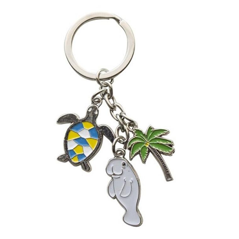 Keyring #1 Has a Manatee,  a Turtle and a Palm Tree