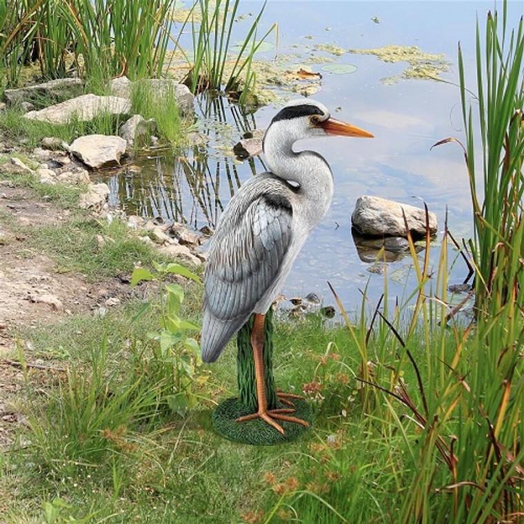 Gray Heron Coastal Bird Statue