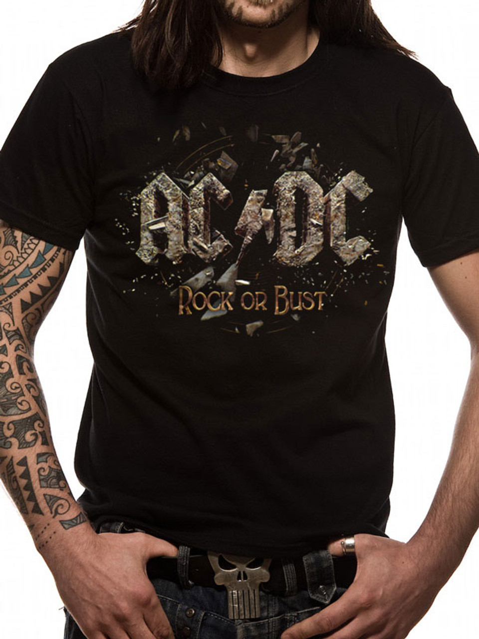 AC//DC T Shirt Womens Rock Or Bust Band Logo About to Rock Official Skinny Fit