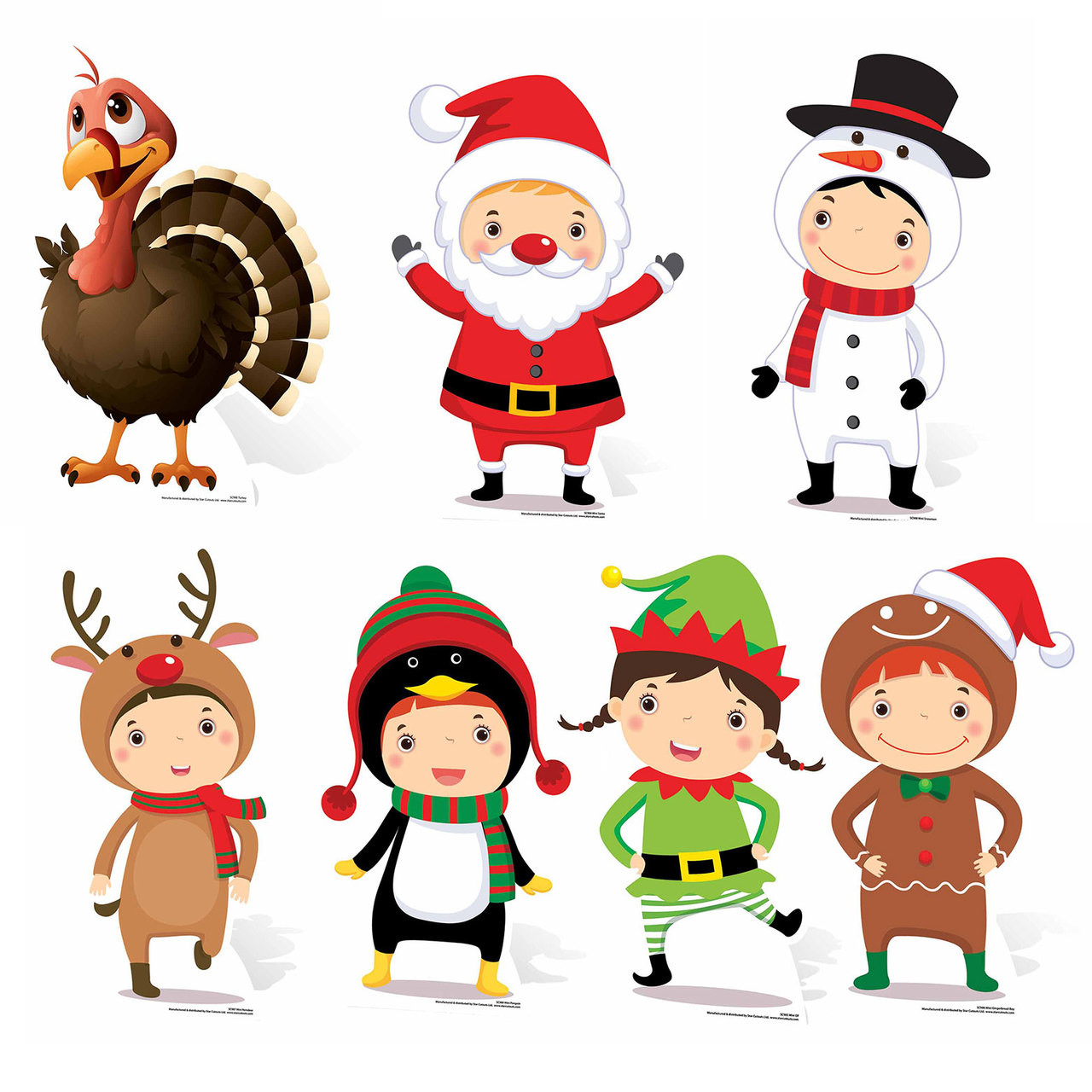 Christmas Cutouts.Mini Christmas Themed Cardboard Cutout Collection Set Of 7 Cutouts