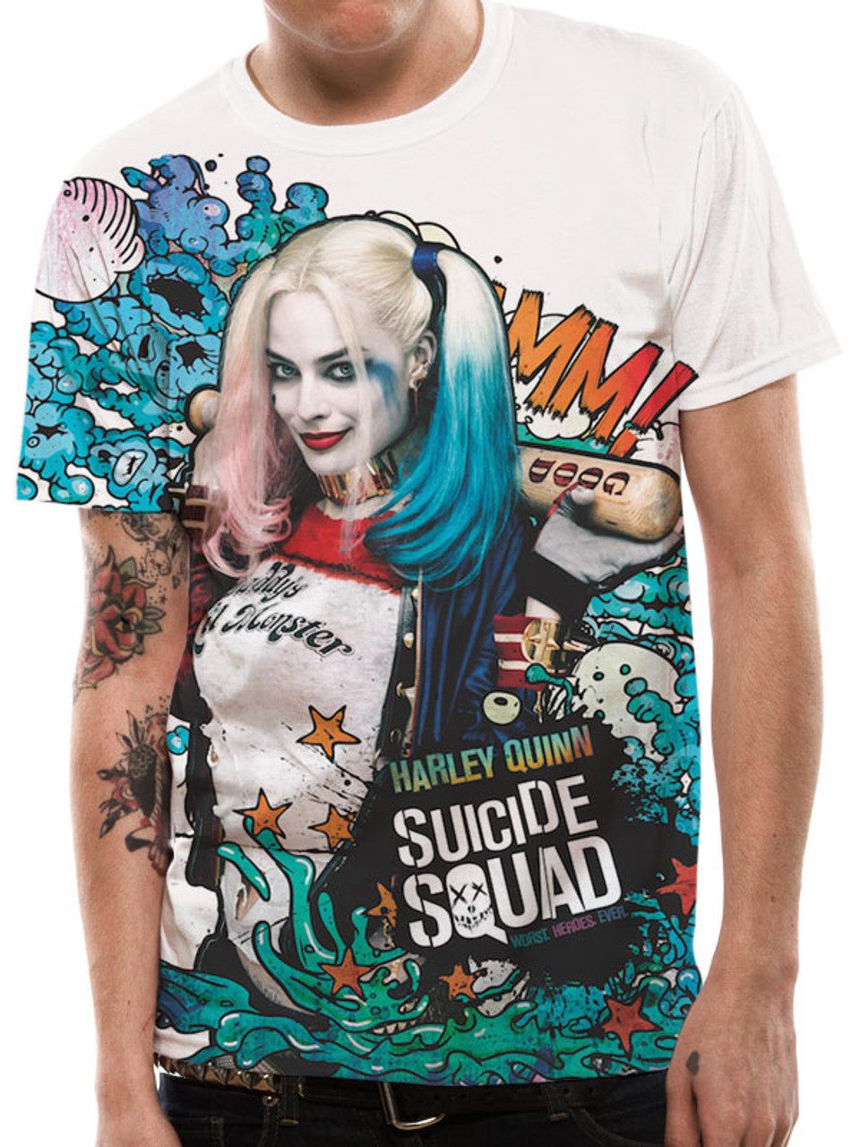 Official licensed-suicide squad-big joker t shirt harley batman dc comics