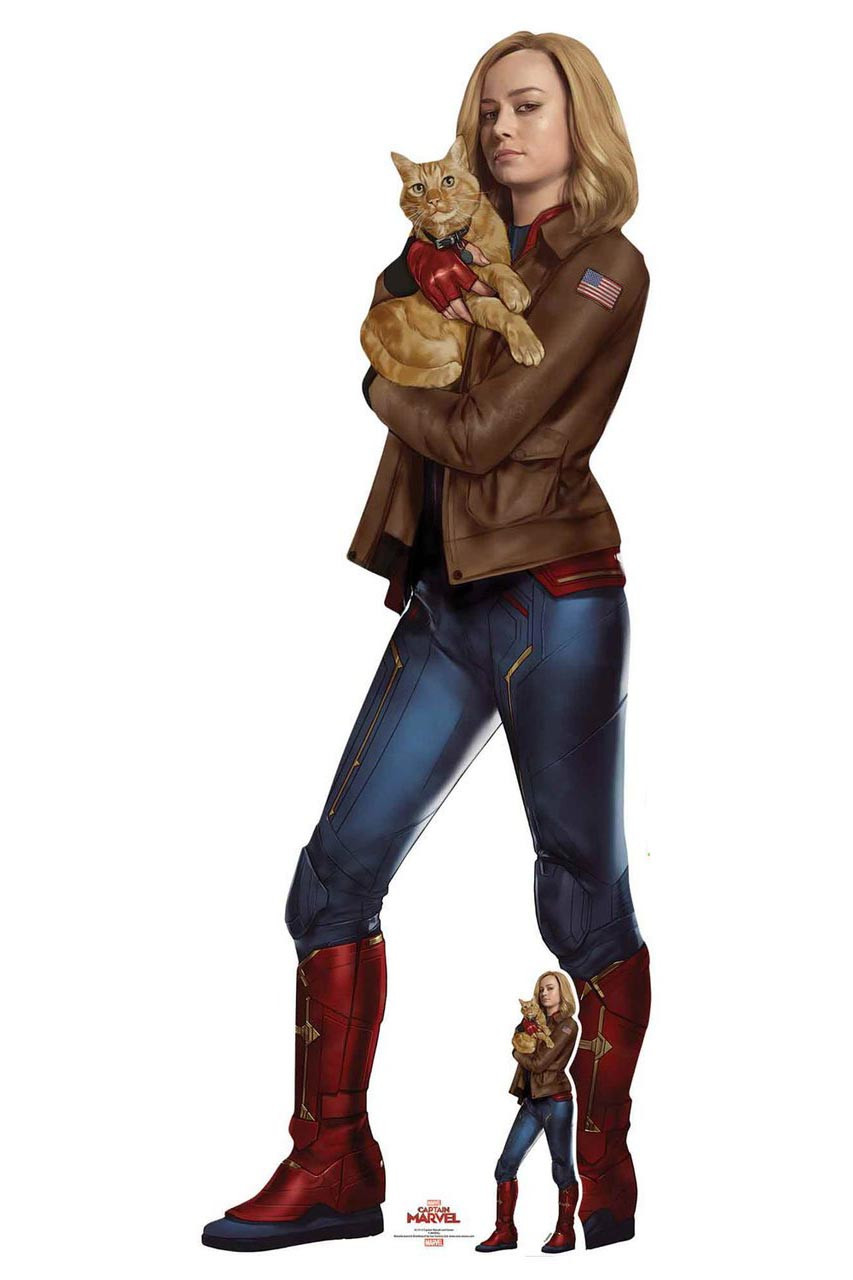 Carol Danvers With Goose The Cat From Captain Marvel Official Cardboard Cutout Brie larson, captain marvel herself, is highly allergic to. carol danvers with goose the cat from captain marvel official cardboard cutout