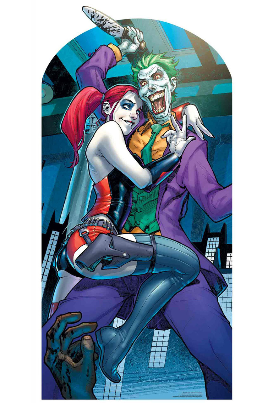 Harley Quinn And The Joker With Knife Official Lifesize Stand In Cardboard Cutout