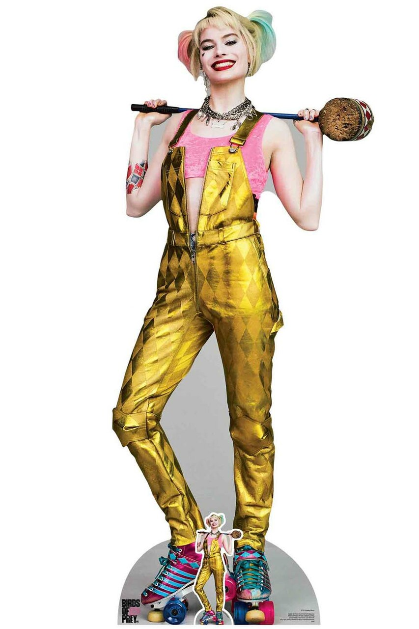 Harley Quinn Gold Jumpsuit Birds Of Prey Lifesize Cardboard Cutout